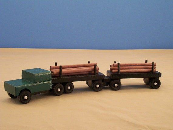 Wooden Toy Trucks For 3 Year Old : Piggy back log tractor trailer wood trucktoy truck