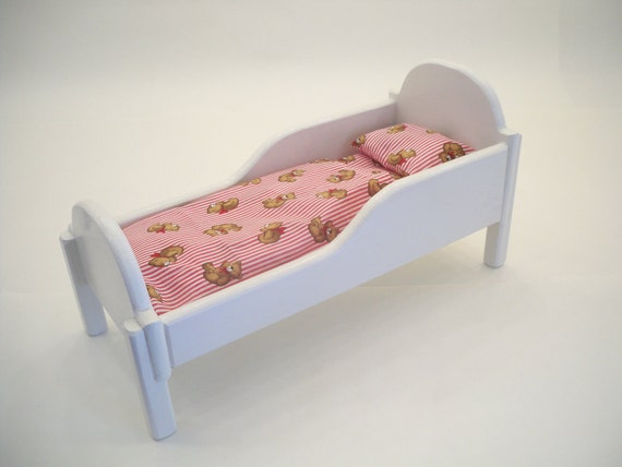 Wood doll bed doll furniture doll bed by hummelcreations Wooden baby doll furniture