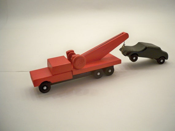 Wood Tow Truck With Car Wood toy Toy Tow Truck Kids Toy Tow