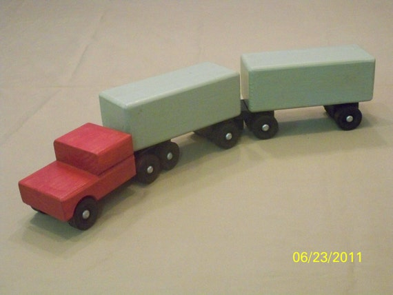 Toy Tractor Trailer Trucks : Toy piggy back tractor trailer wood truck kids