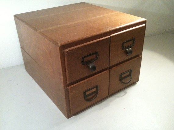 Library Index Card Catalog 4 Drawer Wood Box Vintage Office