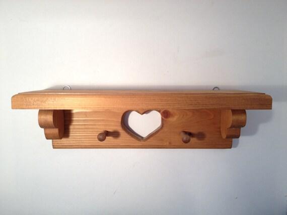 Wooden Peg Shelf Rustic Vintage, Wooden Vintage Heart Peg shelf, Wooden Farmhouse Peg Shelf, Wooden Rustic Small Display Shelf
