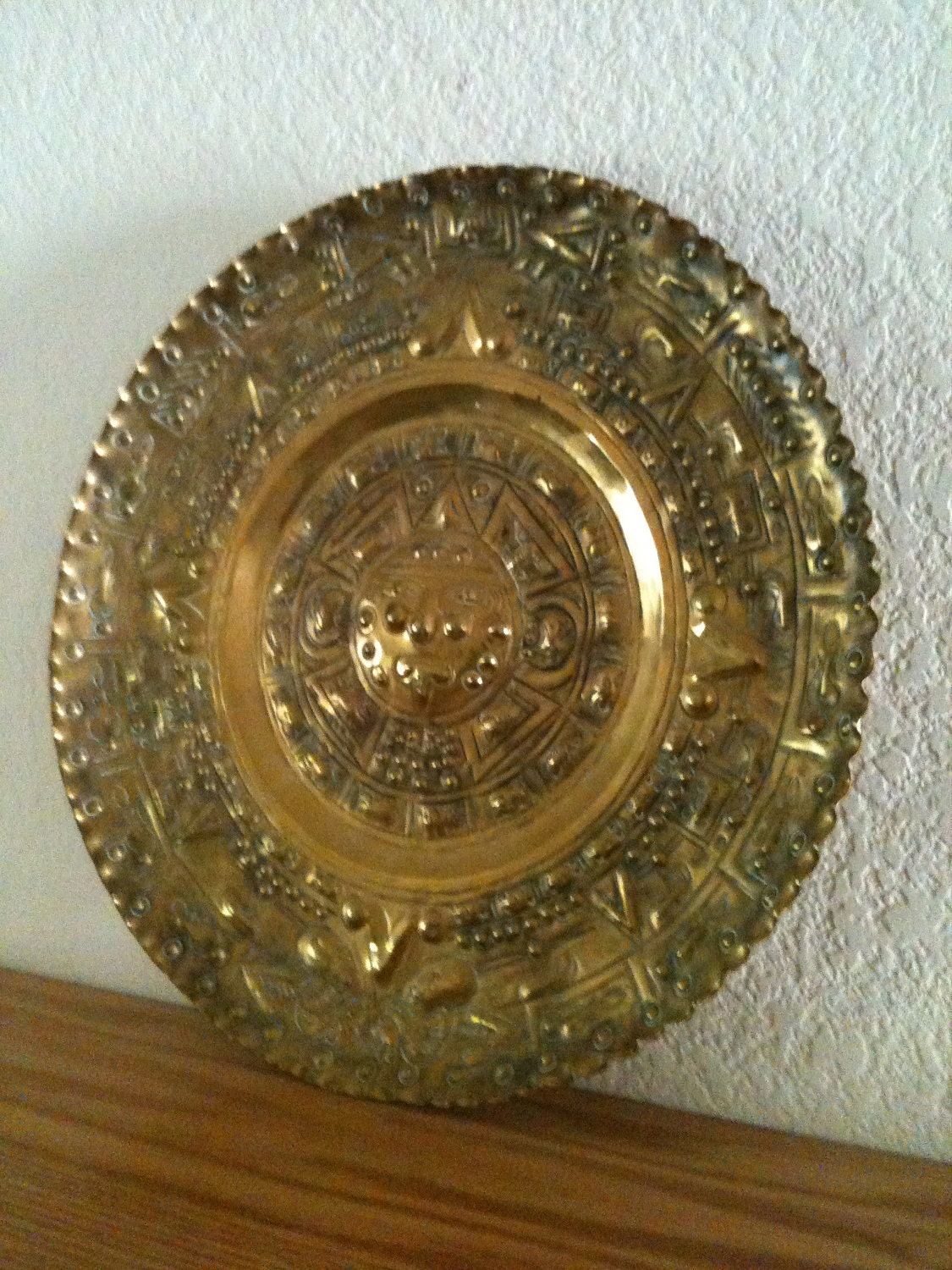 Brass Wall Plates Decor : Brass wall decor zodiac plate vintage large hanging