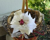 Woodland Flower Girl Basket - Rustic Birch Branches and Ivory Ribbon - Recycled Basket