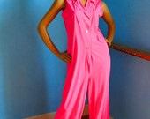 Pink vintage sleeveless nylon jumpsuit 38