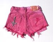 Vintage Levis Fuchsia Pink Cut Offs Silver Upside down Cross Studding