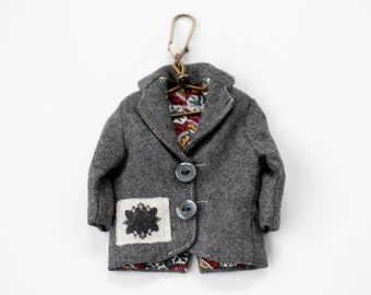 Vintage Remake Doll Clothing Keychain - Wool Jacket