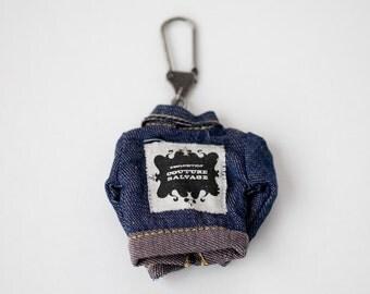 Vintage Remake Doll Clothing Keychain  - Denim Jacket
