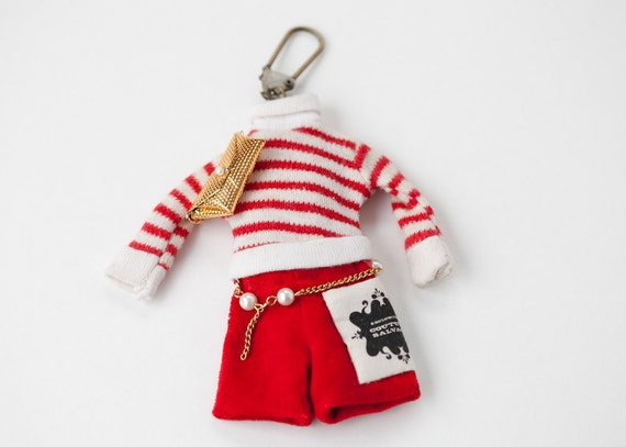 Vintage Remake Doll Clothing Keychain - Red