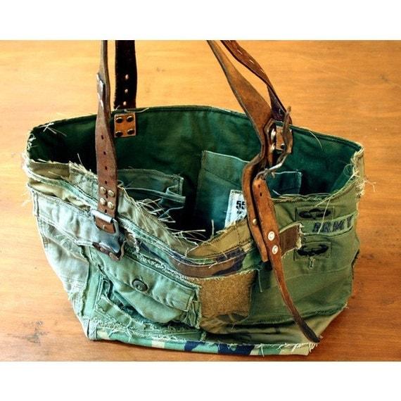 Vintage Remake Army Tote Bag No. 4