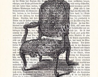 Lovely Fauteuil or Armchair in Louis XV-style Vintage Art Print on Upcycled Antique Book Page