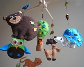 Baby Crib Mobile - Music Baby Mobile - Felt Mobile - Nursery mobile - Funny forest - Forest mobile