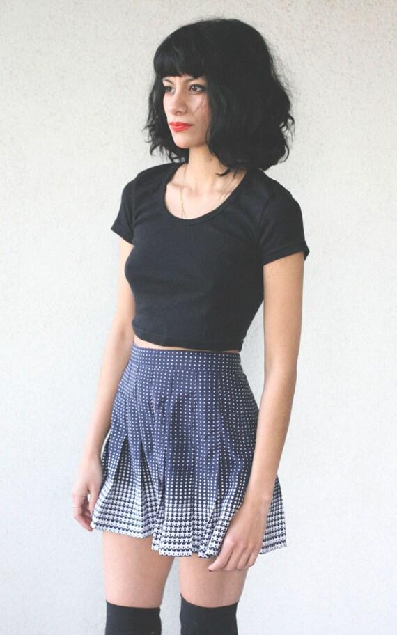 vintage 80's navy/white star print pleated mini skirt - medium