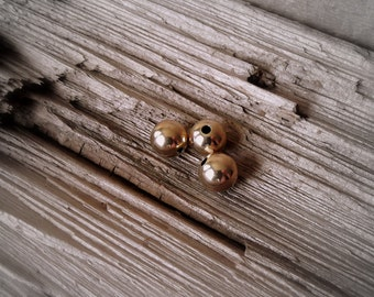 10mm Round Smooth 14kt Gold Filled Vintage Beads.  3 Pieces.