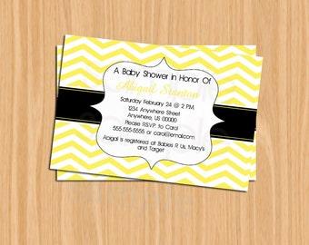 DIY Printable 4x6 Babyshower Invitation-Chevron yellow and black