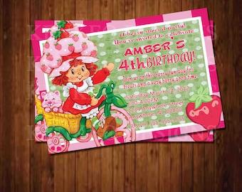 DIY Printable 4x6 Invitation-Strawberry Shortcake