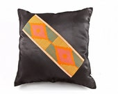 """Black and Orange pillow / cushion made with black satin and orange african fabric stripe - 18"""" x 18"""" / 45cm x 45cm - Insert included"""