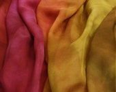 Roses / Red yellow silk chiffon 4,5 momme - Hand dyed painted perfect for nuno felting / 1,5 metres