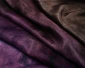 Smoky Quartz Purple - Aubergine / Eggplant color - silk ponge 5 momme - Hand dyed painted perfect for nuno felting / 1,5 metre