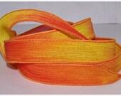 Hand Painted Silk Ribbon Dancing Flames Wrist Wrap Ribbon