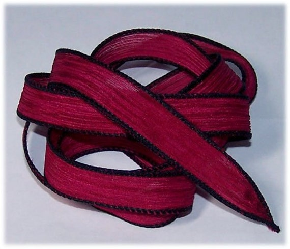 Hand Painted Wrist Wrap Ribbon Cranberry Jelly Sassy Silks Ribbons
