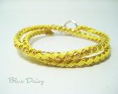 Double Wrap Braided Bracelet in Soft Yellow (The listing is for One Bracelet - Gimp and Toggle Clasp)