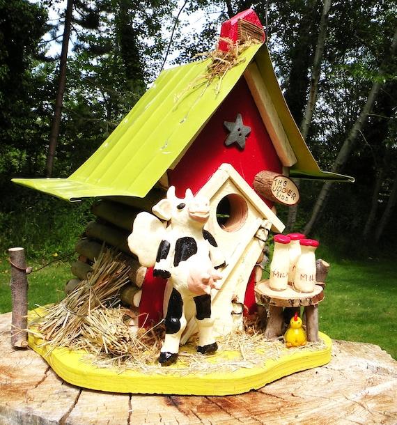Price Reduced, birdhouse, one of a kind birdhouse, OOAK, The Udder Side Birdhouse, original art, garden art, unique birdhouse