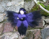 Needle Felted Fairy, Waldorf Inspired, Purple Gothic style