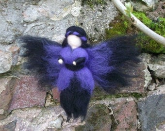Needle Felted Fairy, Waldorf Inspired, Purple Gothic style