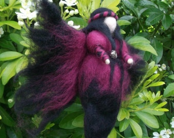 Needle Felted Fairy,Waldorf Inspired,Crimson Gothic