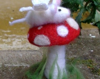 Fairy Mouse on a Fly Agaric Mushroom, Needle Felted Sculpture