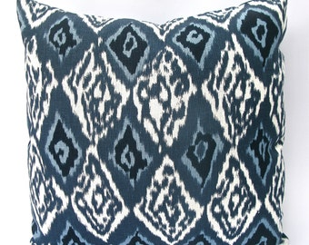 Decorative Ikat, Chevron, Diamond, Linen Pillow Cover - 18 x18, 20x20, 22x22 or Lumbar, Blue, Indigo, Navy Blue Throw Pillow