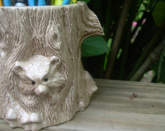 Woodland pottery Bear Cub, gifts under 20, pencil holder, Handmade