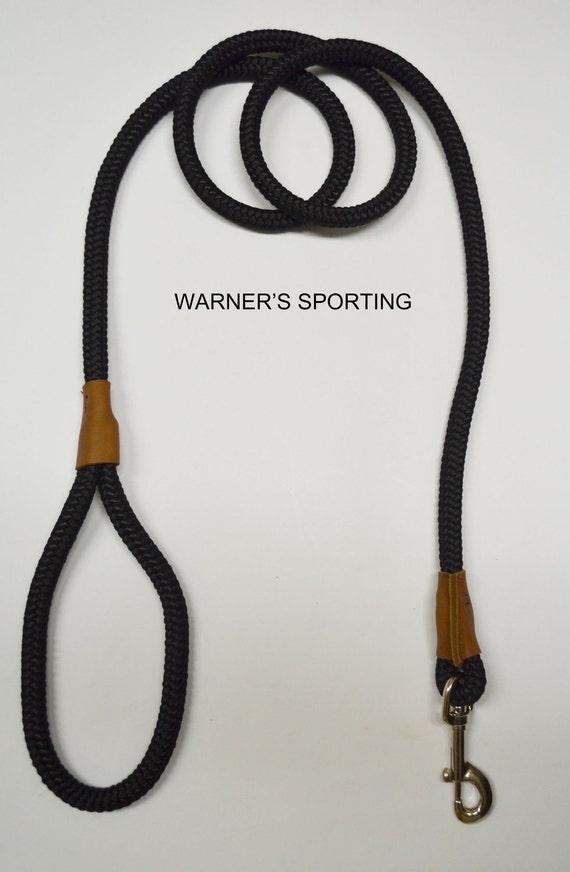 "Warner braided nylon rope snap lead dog leash Black 1/2"" X 6 ft."