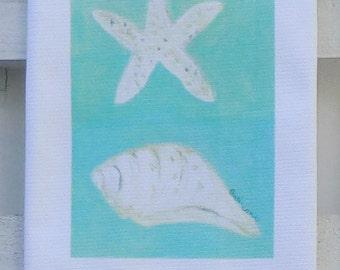 Seashells Cotton Huck Kitchen Towel