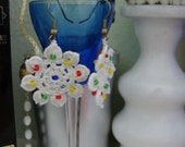 Crocheted earrings pearls with