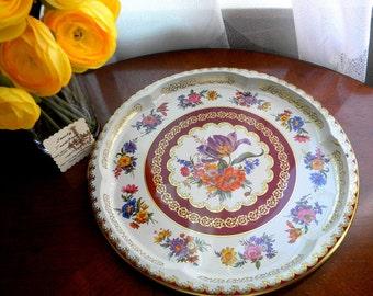 Daher Decorated Vintage Tin Serving Tray- Vibrant flower design.