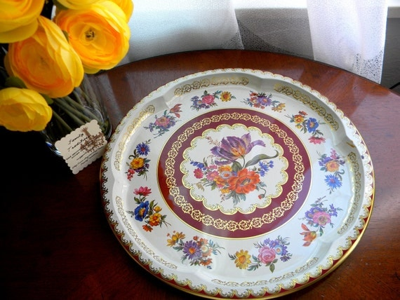 Daher Decorated Vintage Tin Serving Tray- Vibrant flower design.
