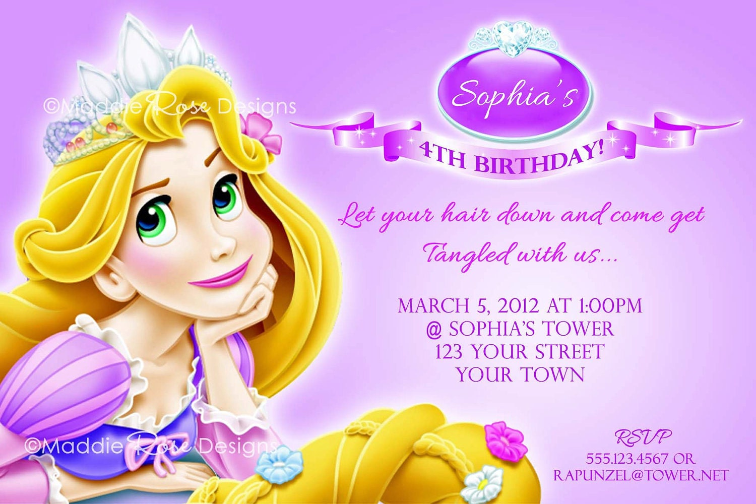 Tangled Invitation Printable, Rapunzel Birthday Party Invite You-Print ...