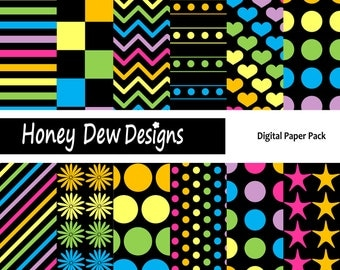 Instant Download - Digital Paper Pack 127 - Black and Rainbow Patterned Paper