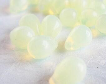 Top-Drilled Yellow Czech Glass Teardrop Bead - 8mm x 6mm - 25 pack