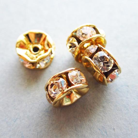 Swarovski Rondelle - Gold Plated - Silk - 6mm - 4 Beads