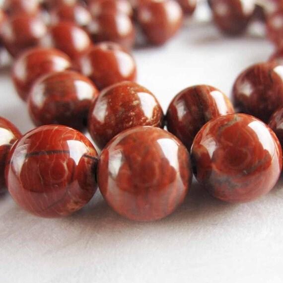 Red Poppy Jasper Gemstone Round Bead - 8mm - 20 Beads