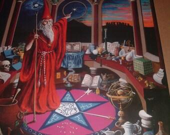 "FIRETHORN poster by Robert John Wolfenden 27"" x 39"" 1988 Magic -  Alchemy Occult Wizard"