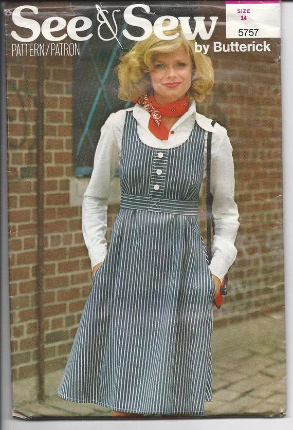 Vintage SEE & SEW BUTTERICK 5757 Misses Jumper Size 14  1960s