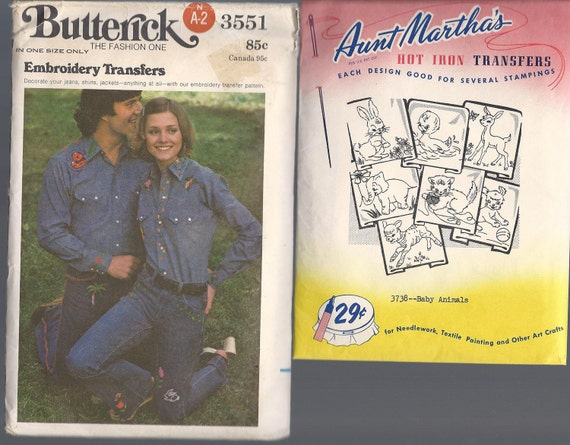 Vintage BUTTERICK 3551 and AUNT MARTHAS Hot Iron Transfers 3738