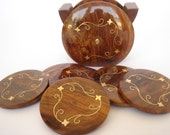 Coasters set in Basket shaped wood with brass inlays