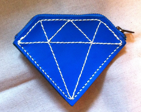Handmade hand stitched genuine leather coin bag, purse in blue diamond shape - creative. unique. cute. bright. lovely. rock