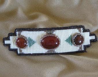 Barrette-Southwestern style-bead loomed-cabochon barrette-cowgirl hair accessory-hair clip-beaded clip-feminine barrette-mountain style