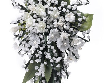 """Bouquet  """"Royal Bouquet""""   Beaded Lily of the Valley, hyacinth, Myrtle, sweet william.  Kate Middleton beaded bouquet. Seed bead flowers"""